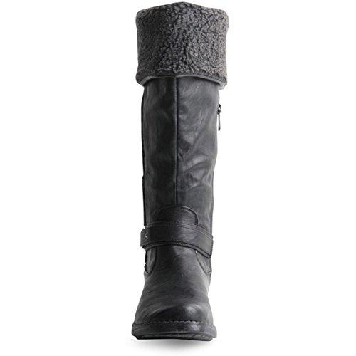 éclair chaud hiver pliable style Femme Élastique bottes Soufflet à Chaussures Noir fermeture TpngWqU