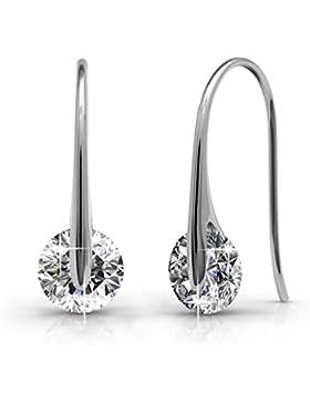 Creolen Ohrringe Tropfenform hängend Set Basic 925 Silber mit Kristallen von echt Swarovski Geschenk für Geliebte...