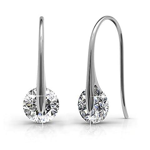 Creolen Ohrringe Tropfenform hängend Set Basic 925 Silber mit Kristallen