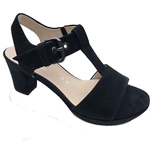 Gabor Heeled T-Bar Sandal - Clover - 22.394 8 Navy Suede Black Suede Platform Sandals