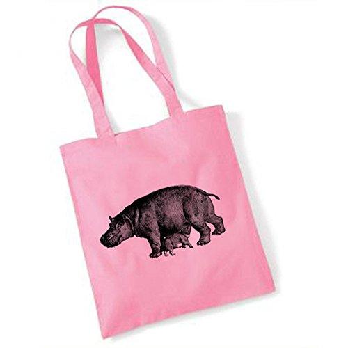 Borsa shopper, motivo: ippopotamo Rosa