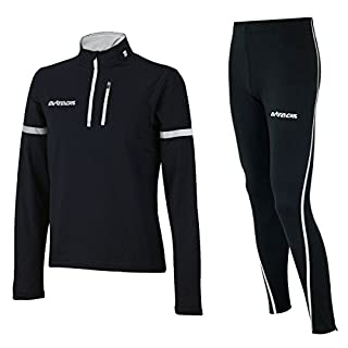 Airtracks Winter Funktions Laufset/Thermo Laufhose Lang Airtech Schwarz Silber + Thermo Shirt Langarm Schwarz - M