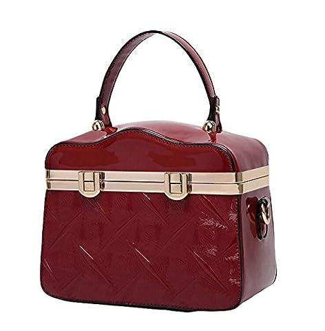 Lady Retro Doctor Package Light Plastic Patent Leather Handbag Shoulder Bag Diagonal Elegant Elegant Zipper,Red-OneSize