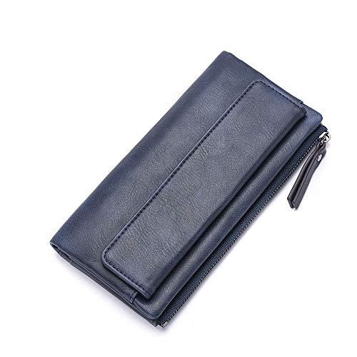 Vnlig Portamonete personalità Creativa New Pu Leather Contrast Portafoglio a Due Colori Portafoglio Lungo Femminile Portafoglio (Color : Dark Blue)