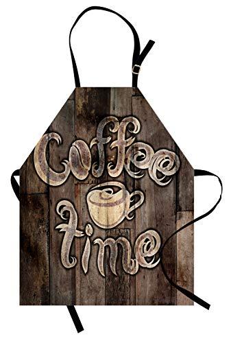 (ABAKUHAUS Modern Kochschürze, Kaffee-Zeit-Phrase mit Einer Schale auf Einem hölzernen Schmutz-Hintergrund-Küchen-Bild, Höhenverstellbar Maschienenwaschbar Kein verblassen, Umbrabraun Kakao Creme)