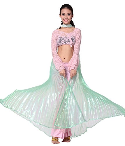 Danza del ventre Danza Indiana Costume Swing Semipermeable Wings Gradient Performance Props With Sticks