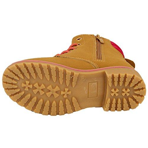Garçon Fille Bottes Désert Enfants Baskets Montantes Chaussure Fermeture Éclair Lacet Allure Cuir Randonnée Camel/Fuchsia - BF27