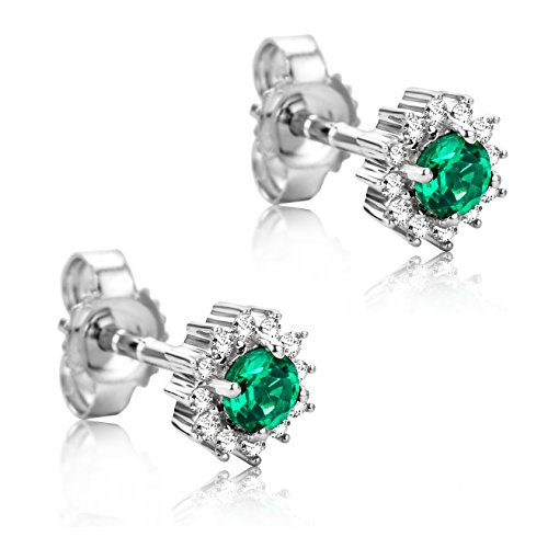 Orovi Orecchini Donna Solitario in Oro Bianco con Diamanti Taglio Brillante Ct 0.10 e Smeraldi Taglio Rotondo Ct 0.2 Oro 9 Kt / 375