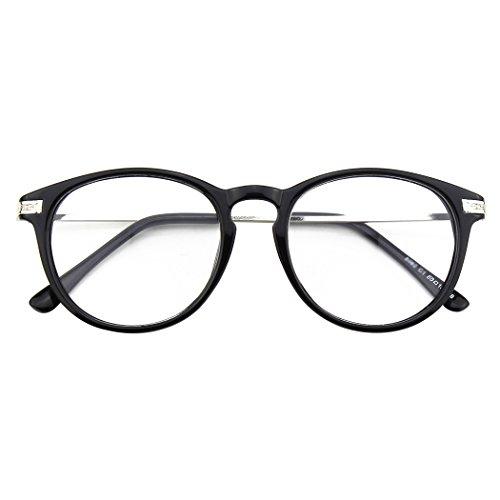 CN92 Klassische Nerdbrille rund Keyhole 40er 50er Jahre Pantobrille Vintage Look clear lens,Glossy...