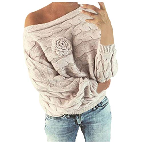 MEIbax Damen Multicolor Striple Flower Pullover beiläufige Gestrickte Long Sleeve Sweatshirt Strick Wollpullover Grobstrick