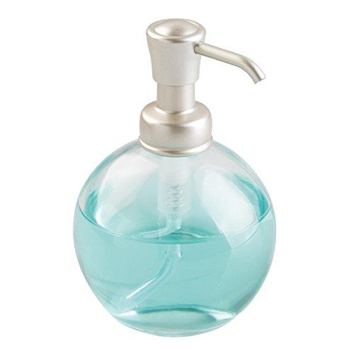 mDesign runder Seifenspender wiederbefüllbar mit 355 ml Füllmenge - Edler Pumpseifenspender BZW. Lotionspender aus Glas mit Pumpfkopf aus robustem Kunststoff -