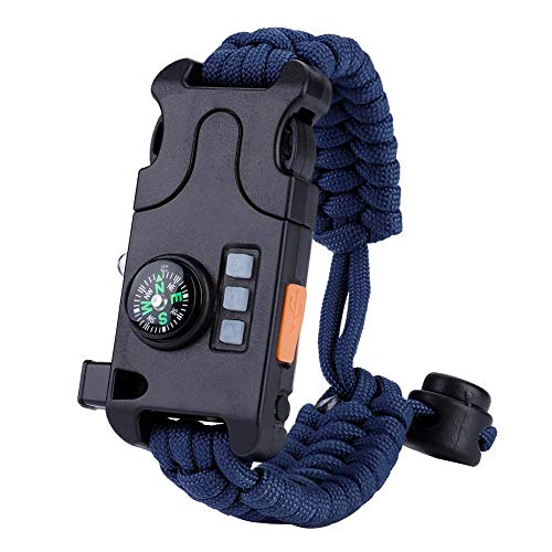 Paracord Survival Armband, multifunktionales Notfall Survival Paracord Armband mit Whistl Mini Compass LED Taschenlampe für Outdoor Camping(Blau)