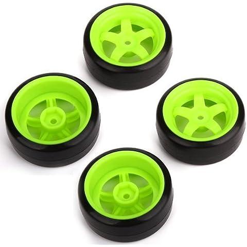 DN RC 1: 10 Racing Drift Car Neumáticos lisos y verde rueda Llantas Durable (paquete de 4)
