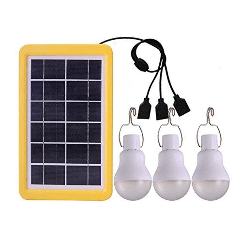 AOLVO Luz Led Exterior, Bombilla Led Exterior Solar con USB, Portátil Lámpara de Camping, Placas Solares Led para Iluminación de Emergencia de Exterior E Interior Iluminación de Cobertizo en Jardín