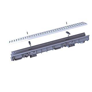 Entwässerungsrinne 60 Klasse B Kunststoff mit Stahlrost verzinkt, 1050 x 80 x 125 mm