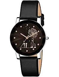 Bhakti Fashion Shunya Crystal Glass Unique Design Analogue Black Dial Girl's Watch