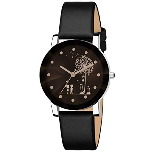 Bhakti Fashion Shunya Crystal Glass Unique Design Analogue Black Dial Girl's Watch