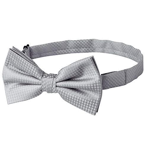 Jacob Alexander Men's Tone on Tone Houndstooth Pre-Tied Bow Tie - Silver - Pretied Bow Tie