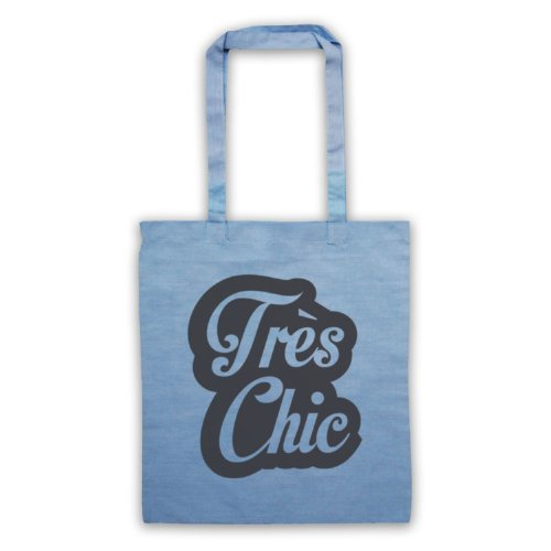 Tres Chic francese Slogan Tote Bag Azzurro