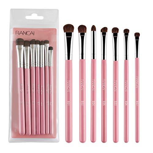 WORMENG 7 Pcs Pinceau ombre à paupières Pinceau de maquillage Kit de Pinceau Yeux Maquillage Professionnel Outils Anti-cerne Multifonctionnel Rose