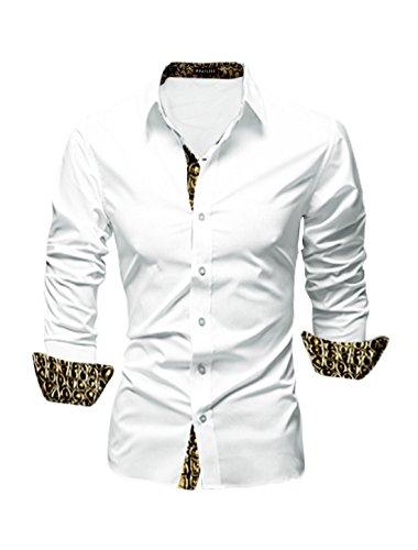 M (US 38) , White-snakeskin-effect : Allegra K Men Long Sleeves Prints Button Down Slim Fit Shirt