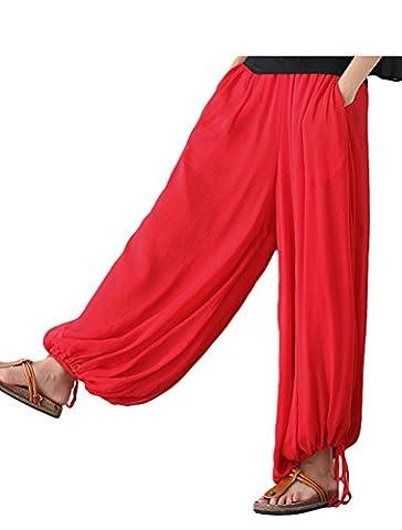 Vogstyle Women's Spring Summer New Italian Lagenlook Layering Plain Harem Trousers Loose Lanterns Pants Red