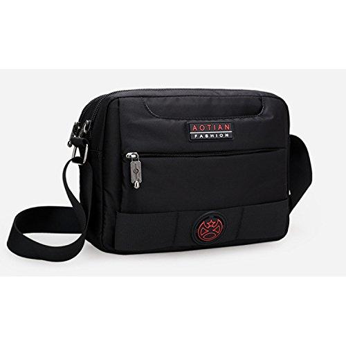 Outreo Schultertasche Herren Messenger Bag Vintage Umhängetasche Retro Kuriertasche Sport Taschen Schule Herrentaschen für Tablet Schwarz