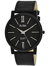 RELISH RE-S8013BB SLIM Black Dial Analog Watch For Mens & Boys