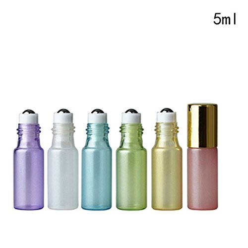 Pinkiou 5ml Roller Flaschen leer ätherisches Öl Glasflasche Reisen Mini Amber Gläser mit Edelstahl-Kugel (6 Stück) Glas Roller Ball Metall