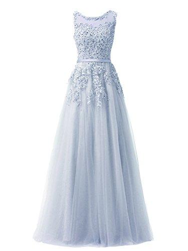 JAEDEN Principessa A-linea Abito da ballo Lungo Tulle Abito da festa Pizzo Vestito fidanzamento Abito da sera Blu