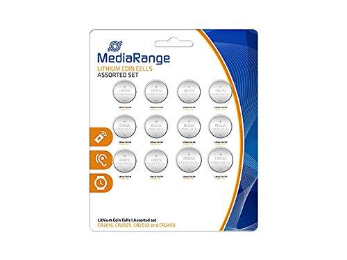 MediaRange Lithium Knopfzellen-Set, sortiert, CR2016|CR2025|CR2032|CR2450, 12er Pack