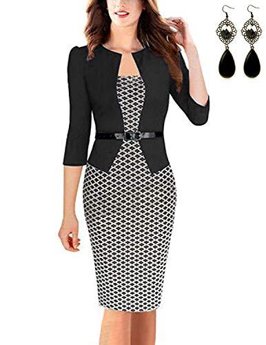 carinacoco Donna Vestiti Manica 3/4 Elegante Stampato Floreale Abito con Cintura Giuntura Pannello Esterno dellanca Pacchetto Abiti Vestito da