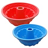 SENHAI - Set di 2 stampi da forno rotondi, in silicone, antiaderenti per torta, mousse, colore: rosso, blu