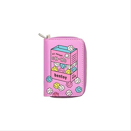 Convenience-Shop Doppelschicht Null Brieftasche Cartoon Niedlich Multi-Card-Karte Tasche Multifunktions-geldbörse Lila Popcorn