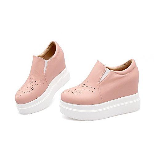 AllhqFashion Damen Hoher Absatz Weiches Material Rein Ziehen Auf Rund Zehe Pumps Schuhe Pink