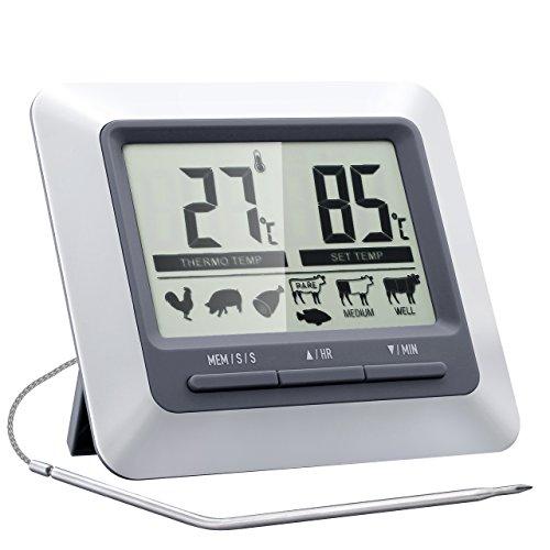 Termometro da Cucina e Timer, Topop Instant Leggere Digitale Cucina Termometro e Timer Con Sonda in Acciaio Per Barbecue Smoker Grill