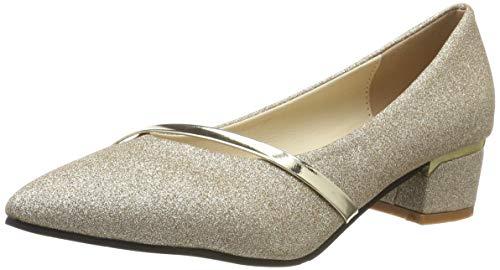 Qimaoo Damen Pumps 7cm High Heels Elegant Abendschuhe Sandalen Sommer Schuhe mit Absatz, Gr.- 37 EU, Gold-4cm
