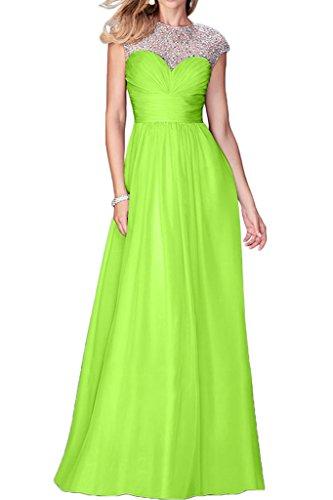 Gorgeous Bride Romantisch Rundkragen Empire Chiffon Tuell Lang Abendkleid Promkleid Abendmode Grün