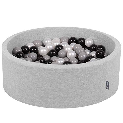 KiddyMoon Piscine à balles Ronde de 90x30cm avec 300balles colorées de 7cm de diamètre, fabriquée en UE, Gris Clair: Noir/Gris/Perle