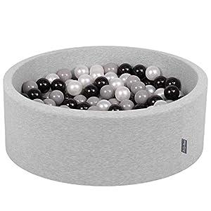 KiddyMoon - Baño para bebés, 90 x 30 cm, 300 Bolas de 7 cm de diámetro, con Bolas de Colores, Redondo,, Gris Claro: Negro/Gris/Perla
