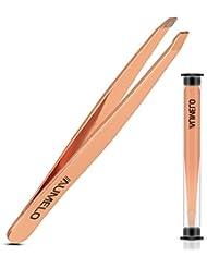 Tweezers for Eyebrows - Aumelo Professional Slant Tip Tweezer - Professional Precision Eyebrow Hair Tweezers Gift for Women & Men,Rose Gold
