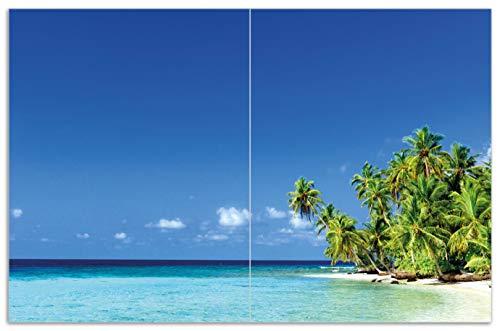 Wallario Herdabdeckplatte/Spritzschutz aus Glas, 2-teilig, 80x52cm, für Ceran- und Induktionsherde, Motiv Blauer Himmel weißer Strand Palmen und Das tiefblaue Meer