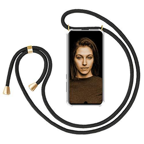 ZhinkArts Handykette kompatibel mit Huawei P30 - Smartphone Necklace Hülle mit Band - Schnur mit Case zum umhängen in Schwarz - Gold