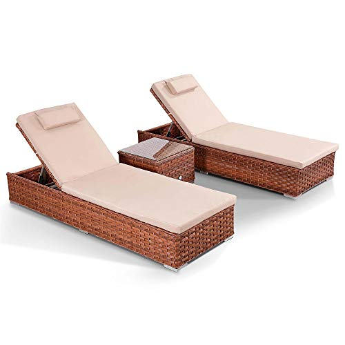 41g5mAxSPHL. SS500  - Club Rattan Soak Sun Loungers with Side Table in Wide Brown Rattan