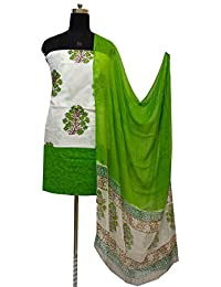Gleamberry Womens Multicolour (White and Green) Block Print Cotton Dress Material Set