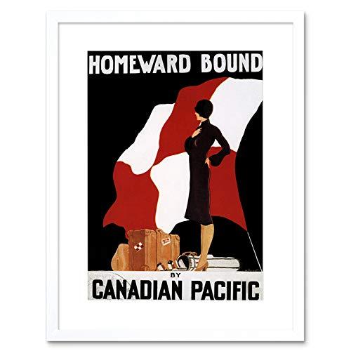 TRAVEL OCEAN LINER SHIP FLAG WOMAN HOMEWARD BOUND CANADA FRAMED PRINT B12X10312 -