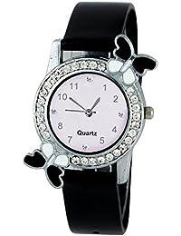 Cloudwood Exclusive Premium Quality Diamond Studded Black Butterfly Stylish Analog Watch For Girls & Women