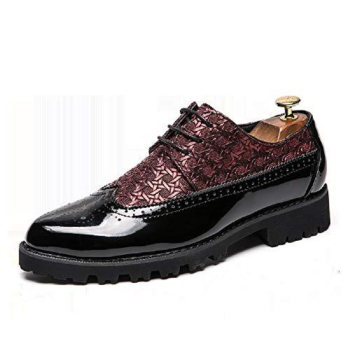 AIFXZ Scarpe Brogue in Vera Pelle Oxford da Uomo Brogue Formali Eleganti Scarpe da Lavoro Casual con Lacci,Red-39
