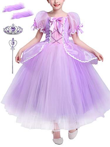 YONIER Costumi Bambina Principessa Sofia Rapunzel Vestito Carnevale Festa Nuziale Compleanno Cerimonia Abito Ragazze Comunione Natale Fiore Nozze Gonna Elegante Pageant Battesimo Vestire