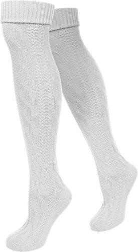 normani Trachten-Umschlagsocken im Landhaus-Stil - mit aufwändiger Applikation Farbe Weiß extra lang Größe 35/38 - 2